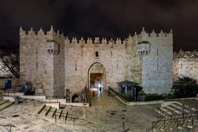 Ворота Дамаска - вход к старому городу Иерусалима в Израиле стоковое изображение