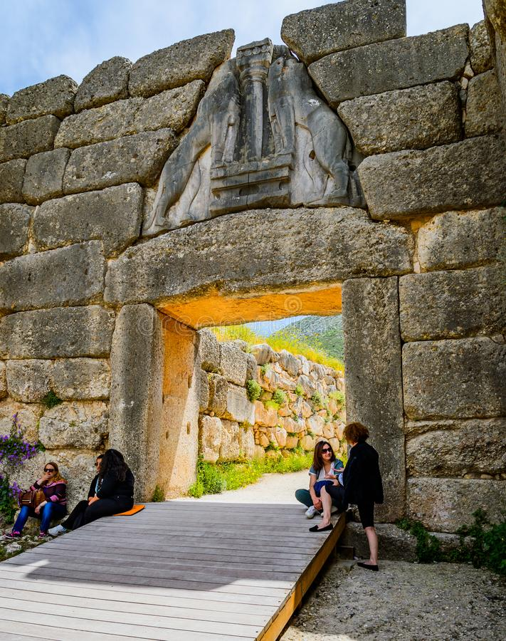 Ворота льва на Mycenae стоковое фото rf