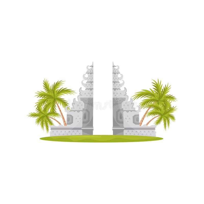 Ворота рая в виске Lempuyang, зеленых пальмах и траве Перемещение к Бали исторический памятник Плоский дизайн вектора иллюстрация штока