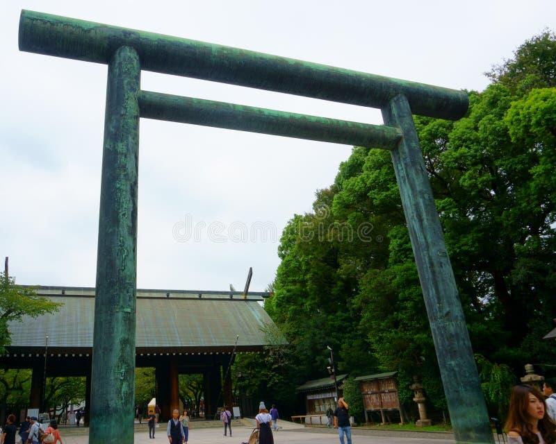 Ворота торусов традиционные японские Имперская святыня Yasukuni стоковое изображение