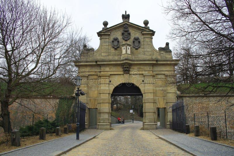 Ворота Leopolds на Vysehrad, Праге, чехии стоковое фото