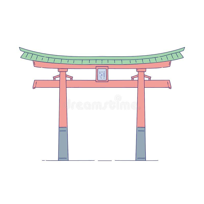 Ворот вектора китайское строя архитектурноакустический ориентир Восточная линия соотечественник архитектуры искусства традиционны иллюстрация вектора