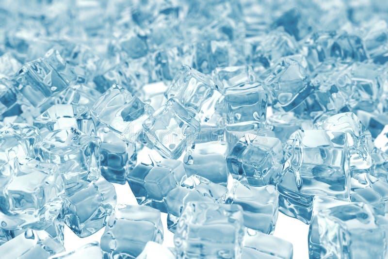 Ворох кубиков льда предпосылка кубов льда с глубиной поля перевод 3d иллюстрация штока