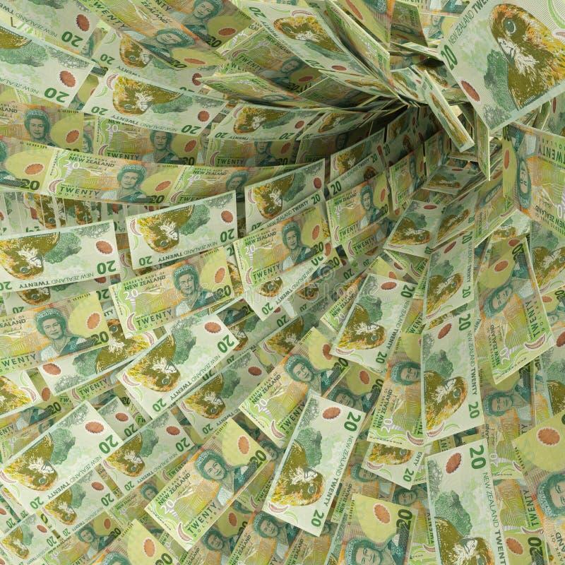 Вортекс денег 20 долларовых банкнот Новой Зеландии бесплатная иллюстрация