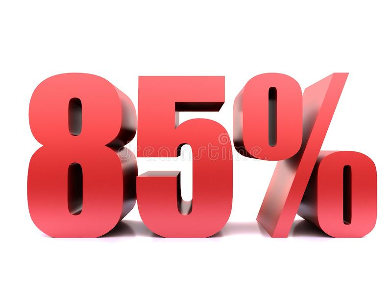 Восемьдесят пять символ процентов 85% 3d иллюстрация вектора