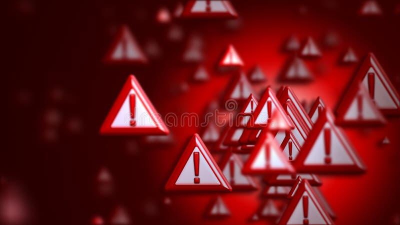 Восклицательные знаки как предупреждение знака иллюстрация вектора