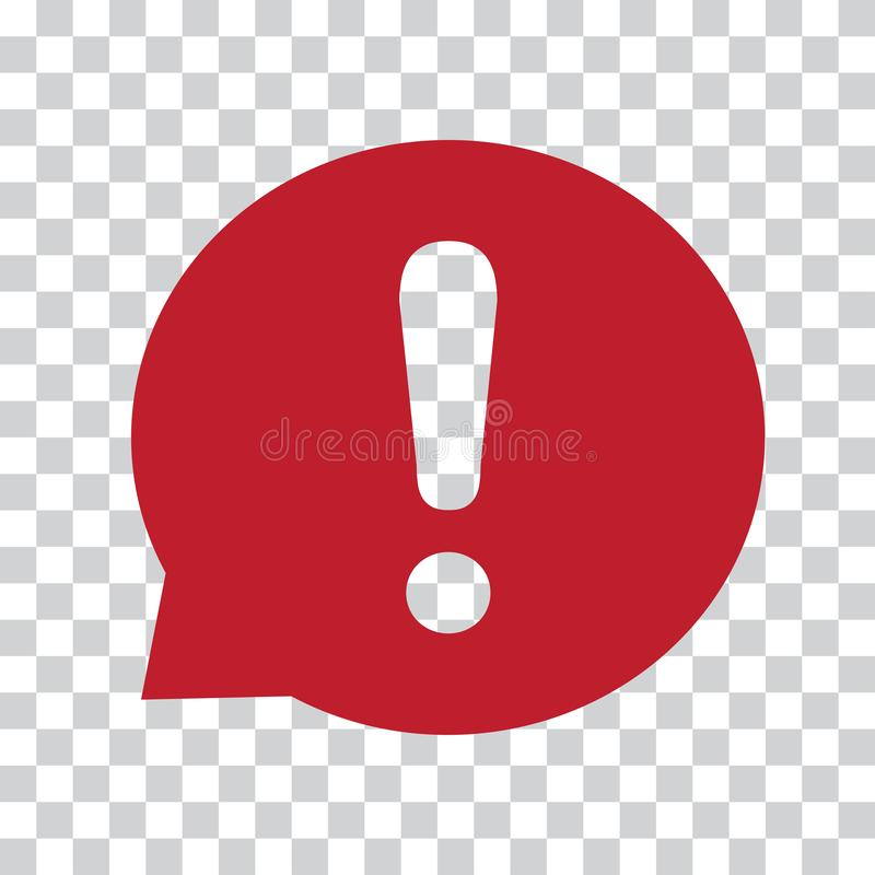 Восклицательный знак в пузыре речи Знак предупреждения или внимания Красный значок на прозрачной предпосылке r бесплатная иллюстрация