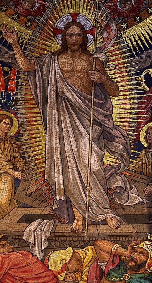 Воскресение мозаики Иисуса Христоса стоковая фотография rf