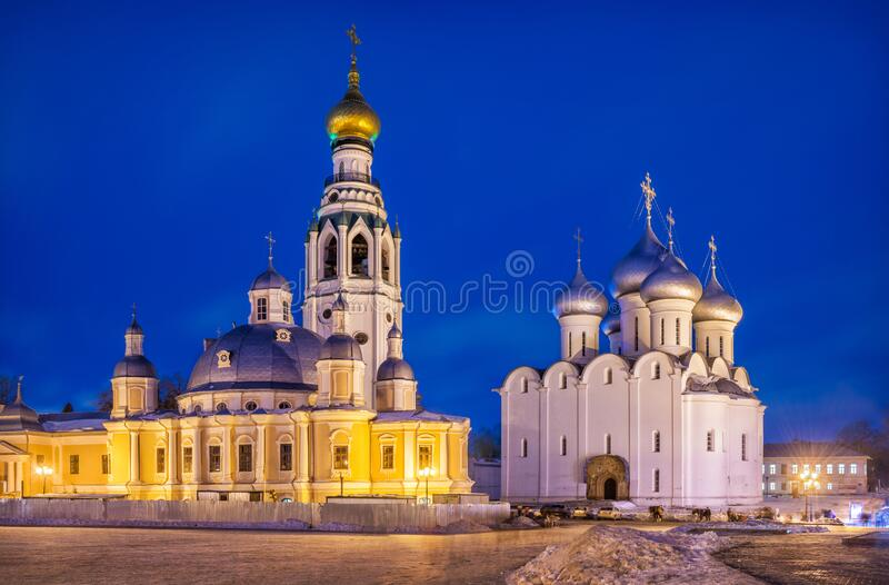 Resurrection and St. Sophia Cathedrals. Of the Vologda Kremlin. View from Kremlin Square on a winter night royalty free stock photo