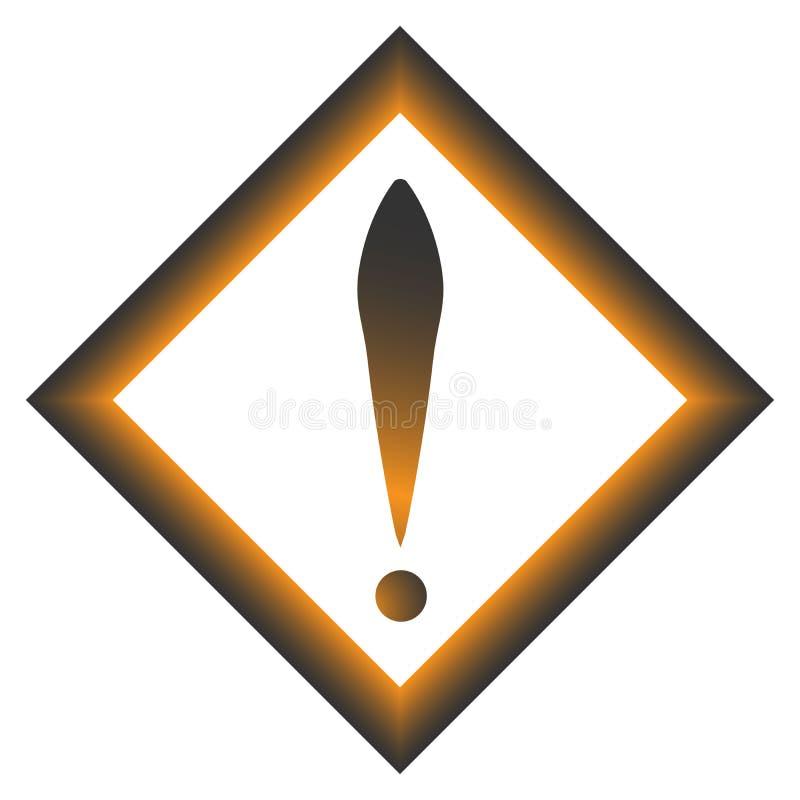 Восклицательный знак в сером и оранжевом квадрате зацепляет икону Плоский стиль дизайна бесплатная иллюстрация