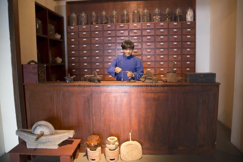 Воск о магазине медицины традиционного китайския стоковые фото