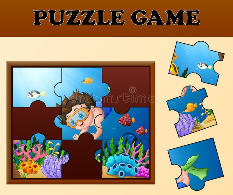 Воспитательная игра головоломки для детей дошкольного возраста с подныриванием мальчика шаржа в красивом подводном мире иллюстрация вектора