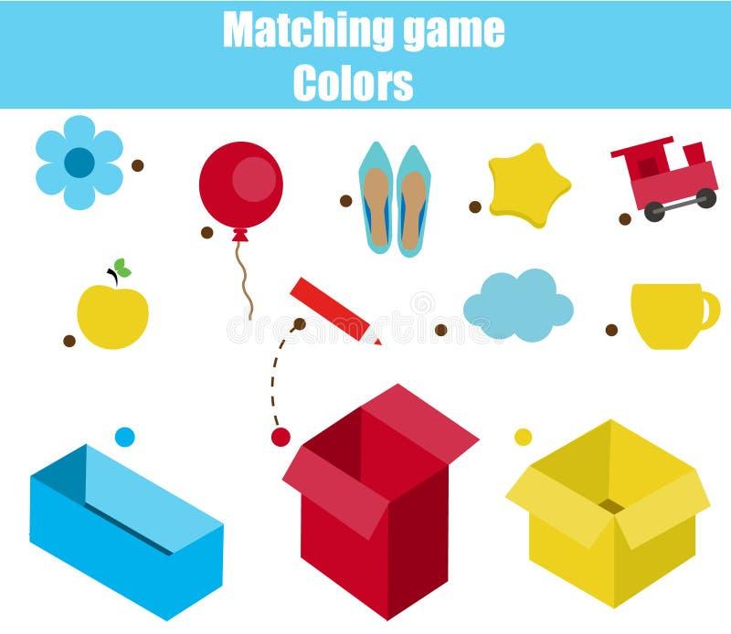 Воспитательная игра детей Рабочее лист соответствуя игры для детей Спичка цветом Сортировать объекты для малышей бесплатная иллюстрация