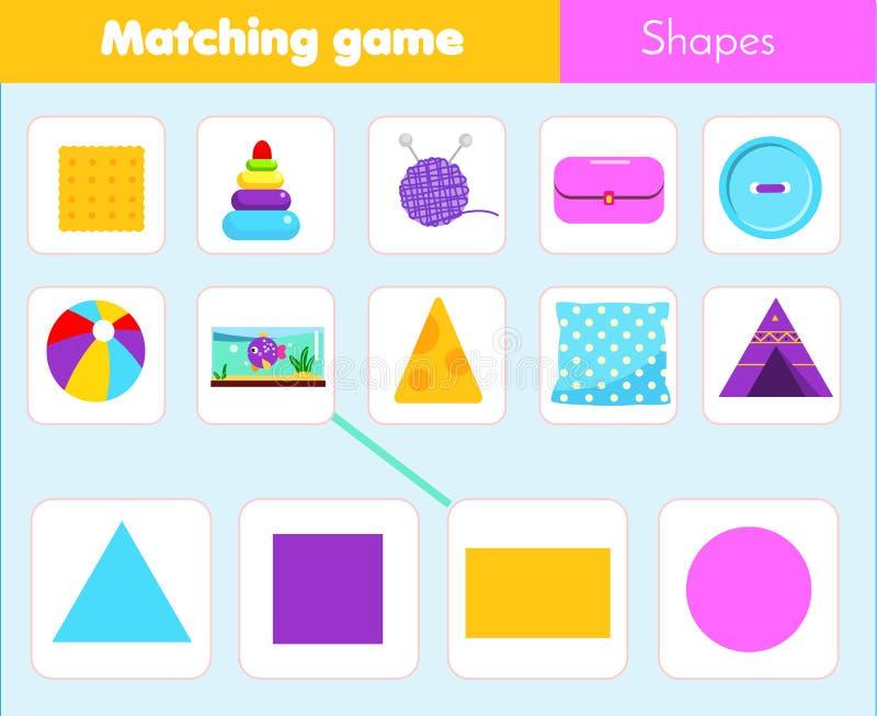 Воспитательная игра детей Рабочее лист соответствуя игры для детей Спичка формой Выучите геометрические формы и диаграммы иллюстрация штока