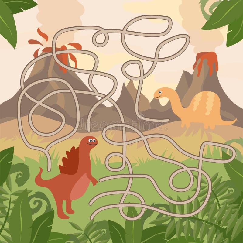 Воспитательная игра лабиринта Встреча динозавров помощи Потеха для детей лет preschool иллюстрация штока