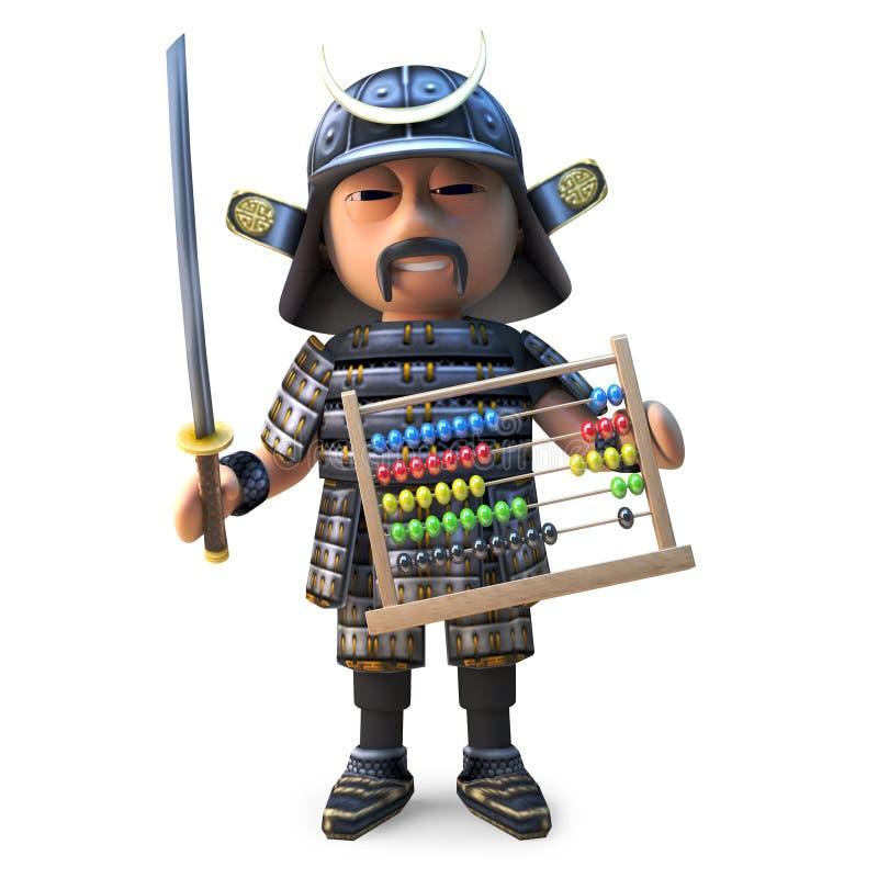 Воспитательно запомненный японский воин самурая держит абакус, иллюстрацию 3d иллюстрация вектора