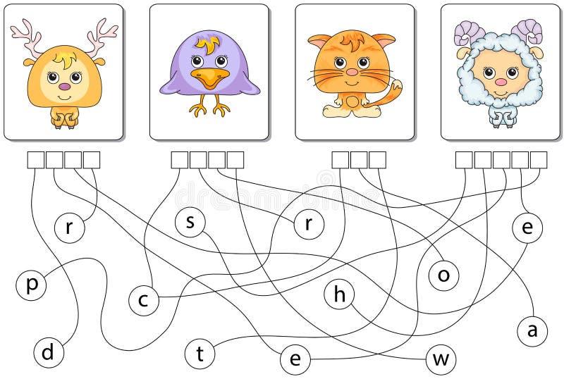 Воспитательная игра головоломки Найдите спрятанные слова иллюстрация штока