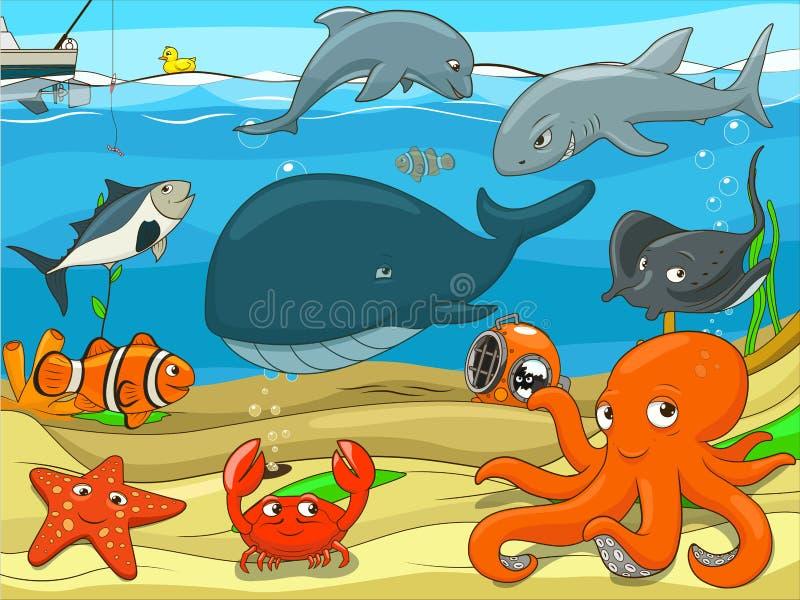 Воспитательная игра на жизнь детей подводная иллюстрация штока