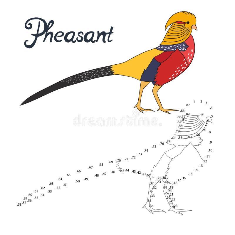 Воспитательная игра соединяет птицу фазана притяжки точек иллюстрация штока