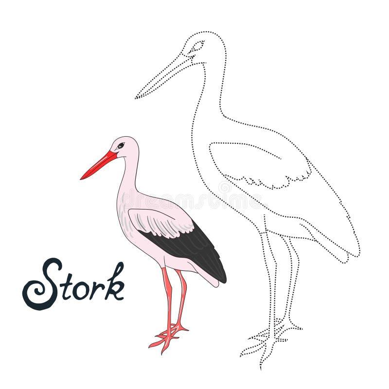 Воспитательная игра соединяет точки к птице аиста притяжки иллюстрация вектора
