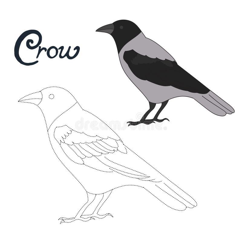 Воспитательная игра соединяет точки к птице вороны притяжки иллюстрация вектора