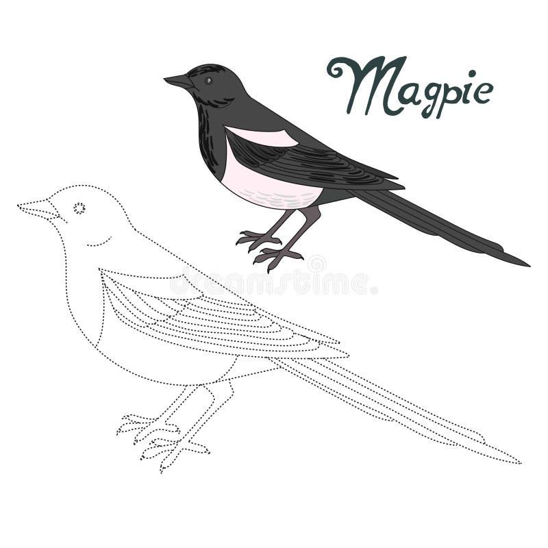Воспитательная игра соединяет точки к птице сороки притяжки иллюстрация штока