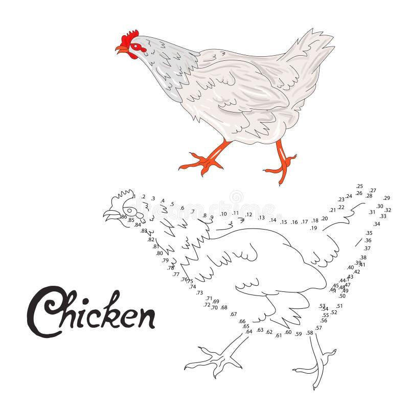 Воспитательная игра соединяет точки к птице цыпленка притяжки иллюстрация вектора