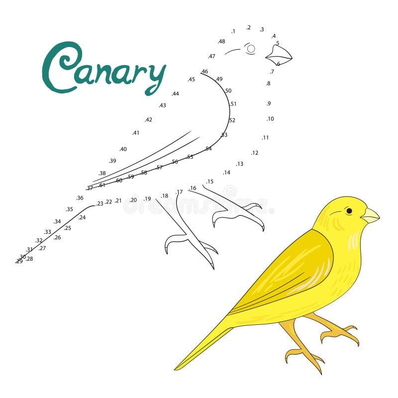 Воспитательная игра соединяет точки для того чтобы нарисовать канереечную птицу иллюстрация вектора