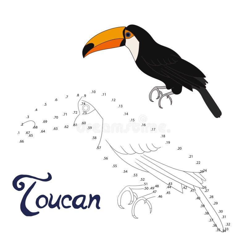 Воспитательная игра соединяет точки для того чтобы нарисовать toucan птицу иллюстрация штока