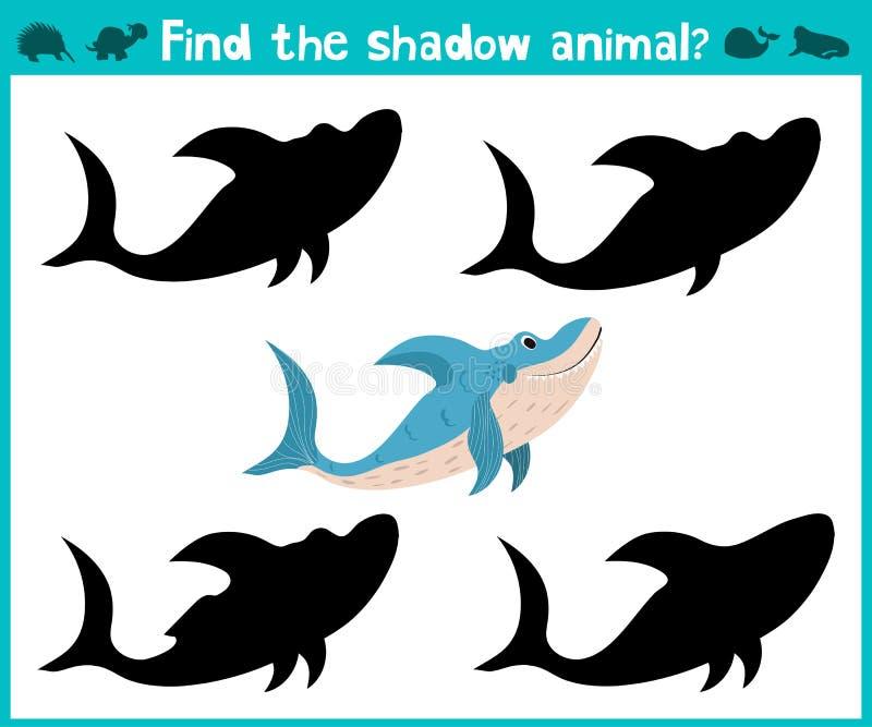 Воспитательная игра шаржа детей для детей времени preschool Найдите акулы моря правой тени милые вектор иллюстрация вектора