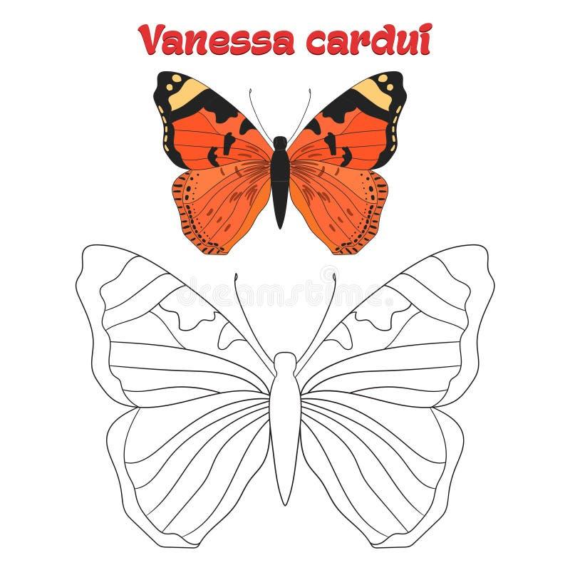 Воспитательный вектор бабочки книжка-раскраски игры иллюстрация вектора