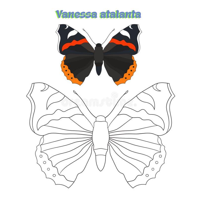 Воспитательный вектор бабочки книжка-раскраски игры иллюстрация штока