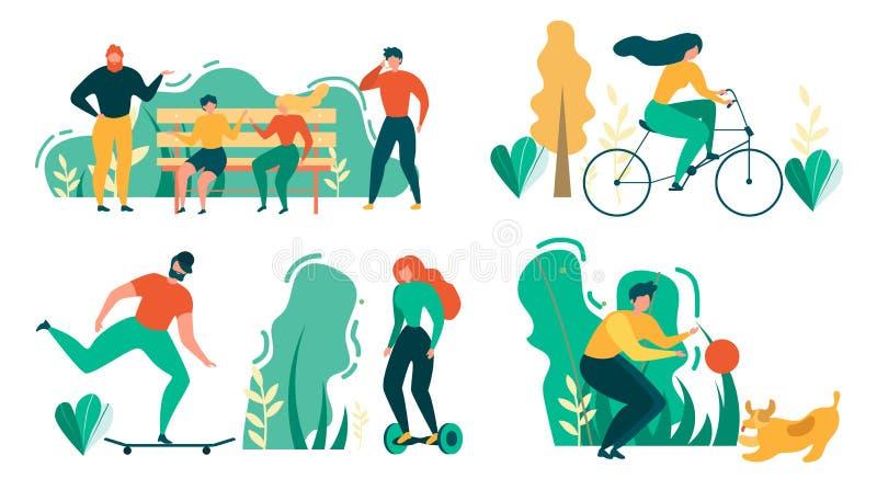 Воссоздание спорта деятельности при Outdoors людей мультфильма иллюстрация штока