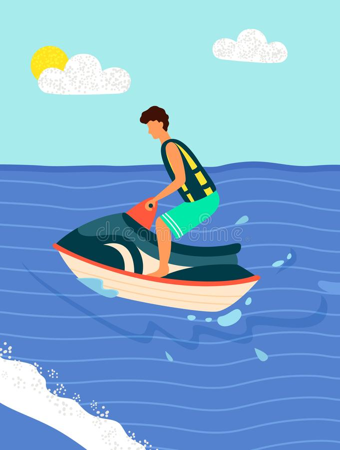Воссоздания спорта лета велосипеда воды Пляж вектора иллюстрация вектора