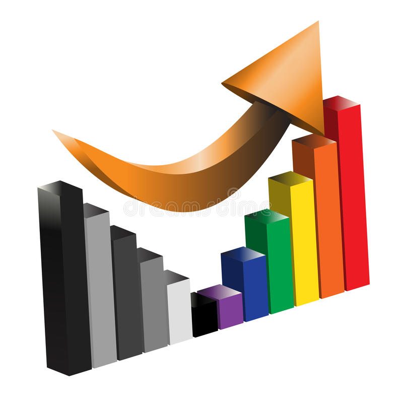 Восстанавливать иллюстрацию столбиковой диаграммы дохода от бизнеса иллюстрация вектора