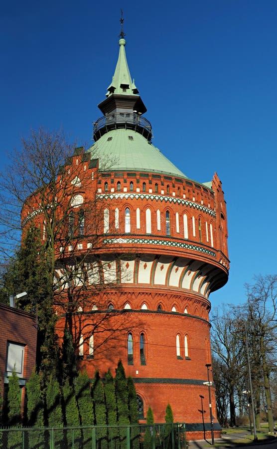 Восстановленная водонапорная башня в Bydgoszcz, Польше стоковое фото