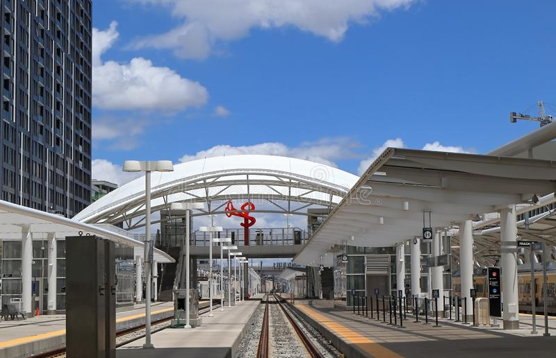 Восстановленная станция в городском Денвер, Колорадо соединения стоковые фото