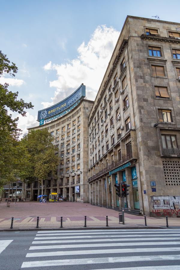 Восстановленный дом профессиональных союзов - Kombank Hall, Белград, Сербия стоковая фотография rf