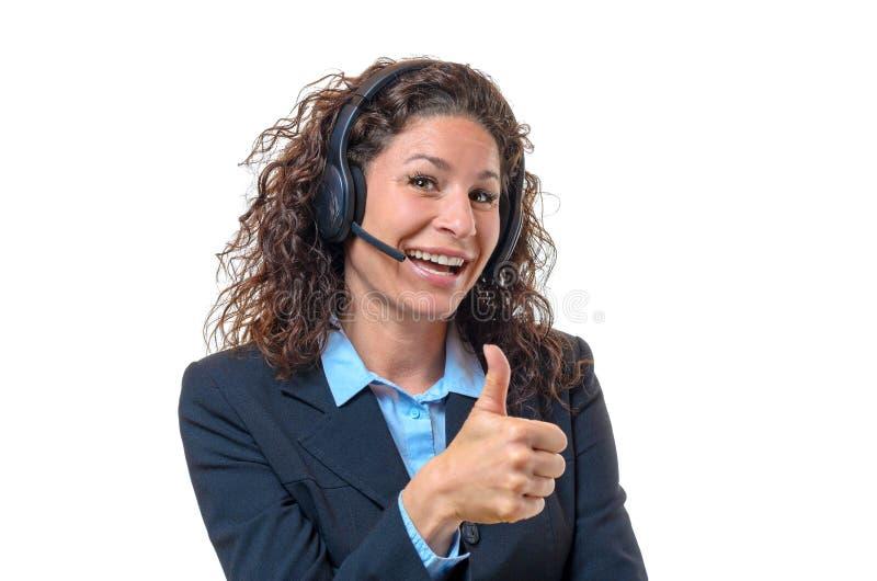 Восторженная коммерсантка нося шлемофон стоковые изображения