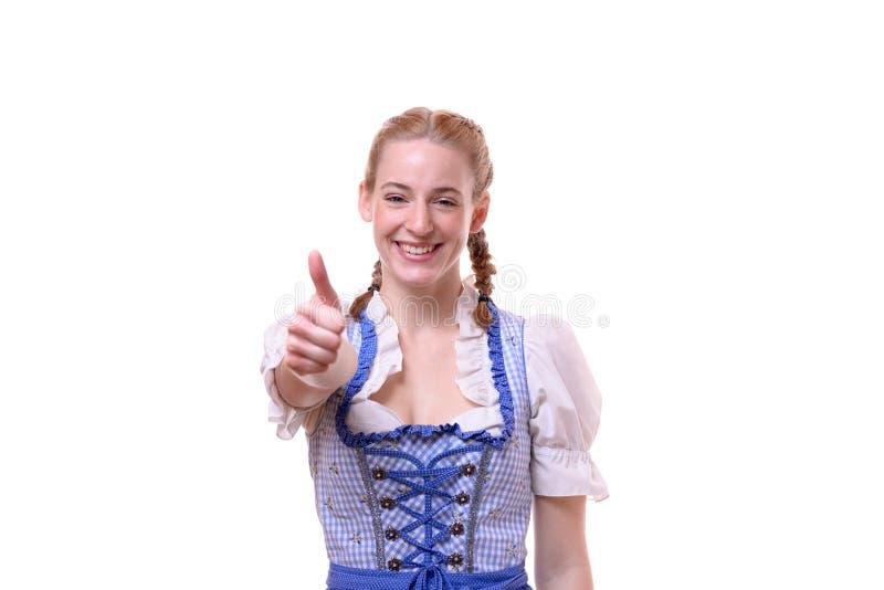 Восторженная мотивированная женщина давая большой палец руки вверх стоковые фото