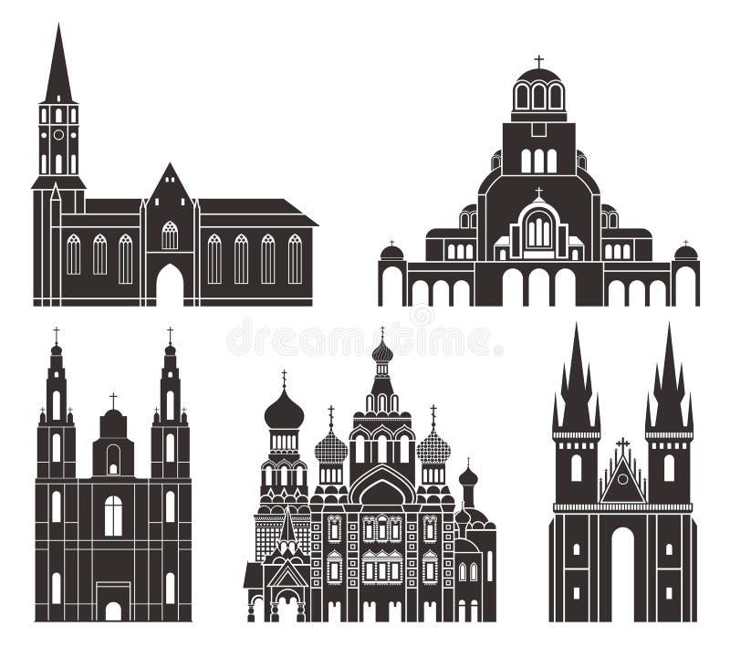 Восточная Европа Изолированные европейские здания на белой предпосылке иллюстрация вектора