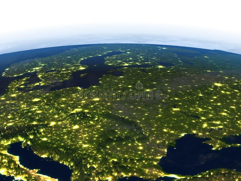 Восточная Европа на ноче на земле планеты бесплатная иллюстрация