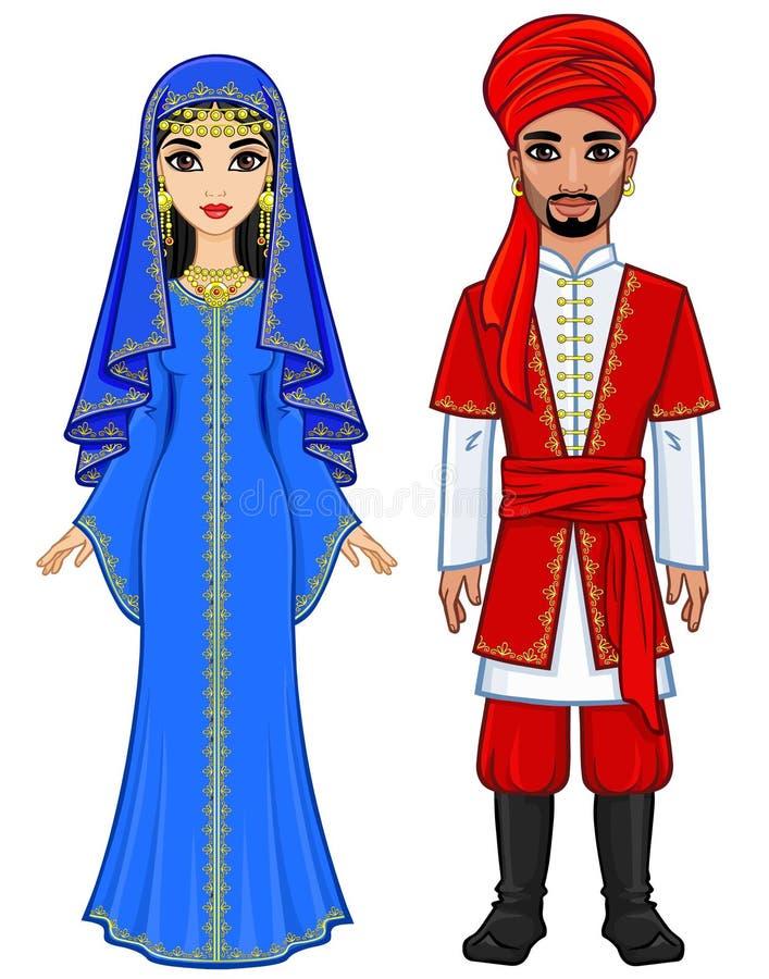 Восточная сказка Портрет анимации арабской семьи в старых одеждах иллюстрация штока