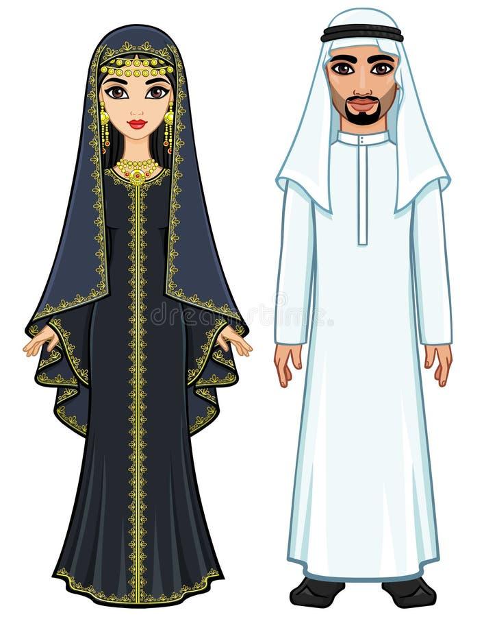 Восточная сказка Портрет анимации арабской семьи в старых одеждах иллюстрация вектора