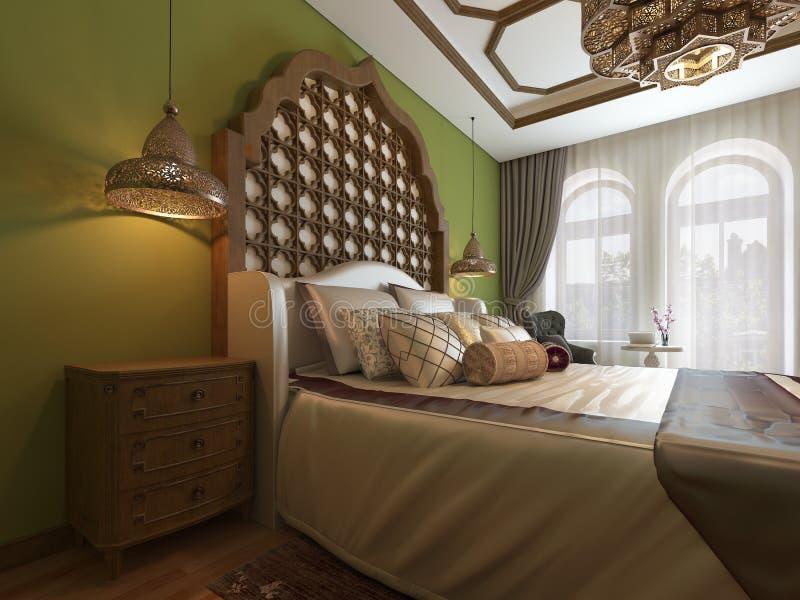 Восточная спальня в арабском стиле, с деревянным изголовьем и зелеными стенами Блок ТВ, таблица шлихты, кресло с журнальным столо иллюстрация штока