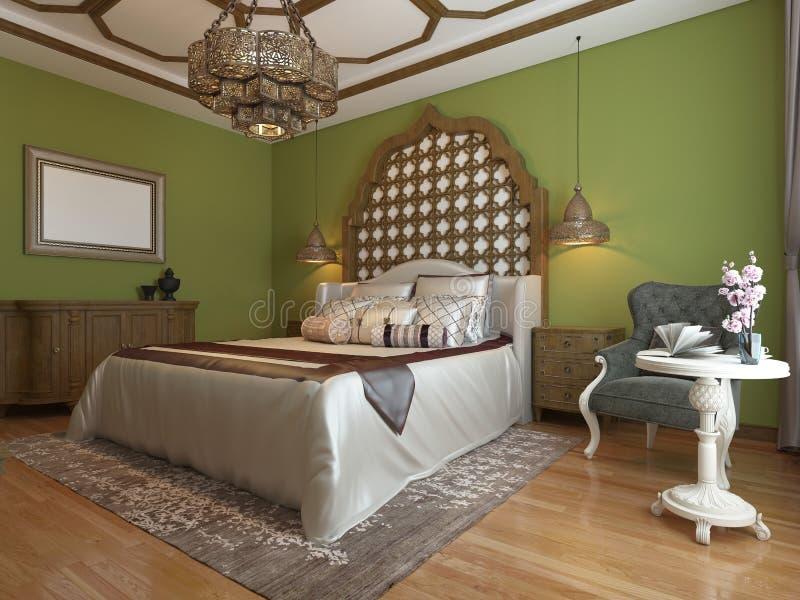 Восточная спальня в арабском стиле, с деревянным изголовьем и зелеными стенами Блок ТВ, таблица шлихты, кресло с журнальным столо иллюстрация вектора