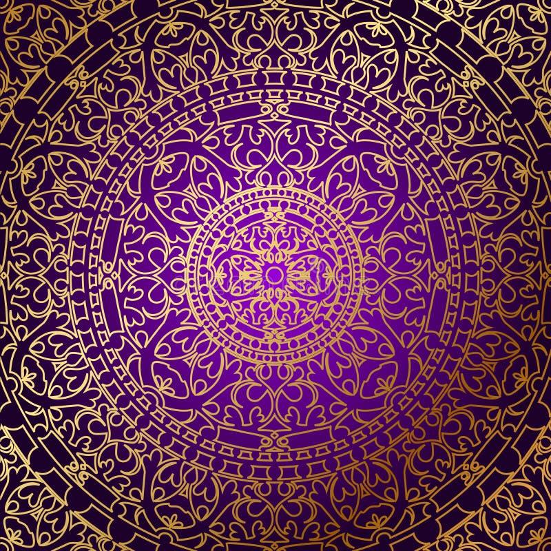 Восточная фиолетовая предпосылка с орнаментом золота бесплатная иллюстрация