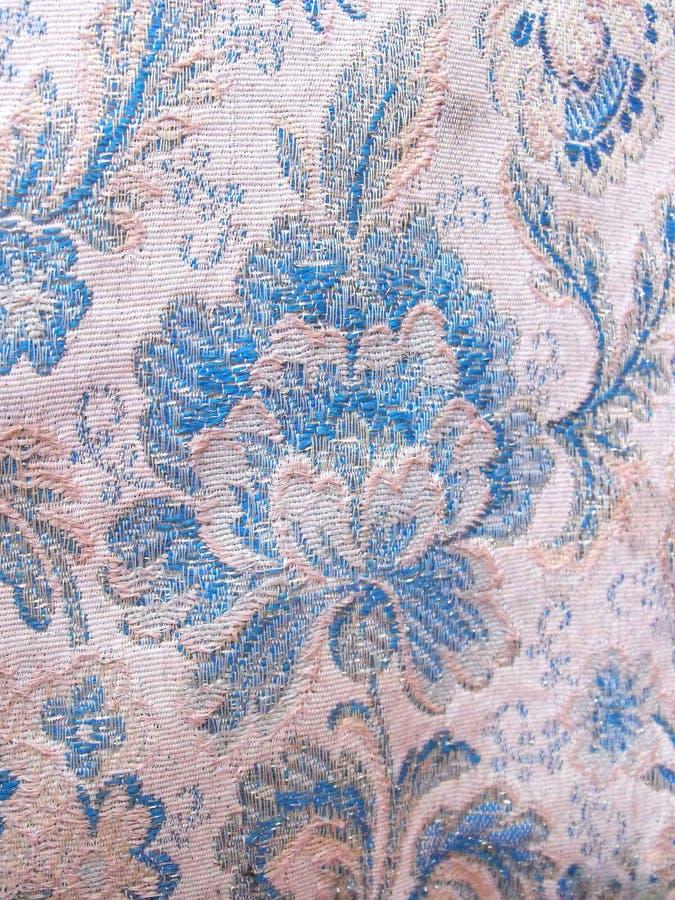 Восточная флористическая голубая деталь картины ткани стоковое фото rf