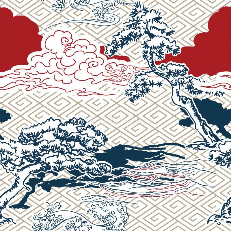 Восточное японского фона картины вектора сосны традиционное стоковые фото