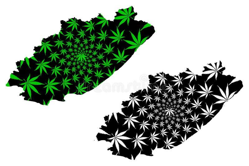 Восточно-Капская провинция ЮАР, Административно-территориальное деление, Карта РКА разработана с целью получения зеленого листья  бесплатная иллюстрация